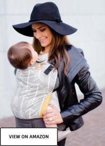 baby with mommy in toddler baby carrier