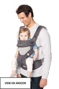 baby in a baby carrier with a dad
